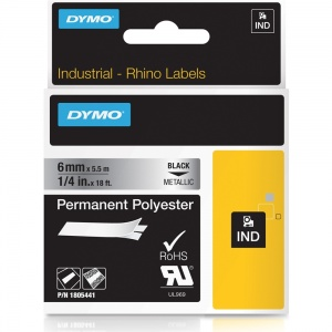 Dymo Rhino 6mm Black on Metallic Polyester Tape (1805441)