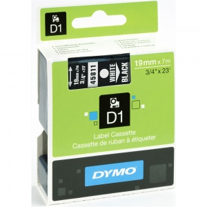 Dymo 19mm White On Black D1 Tape (45811)