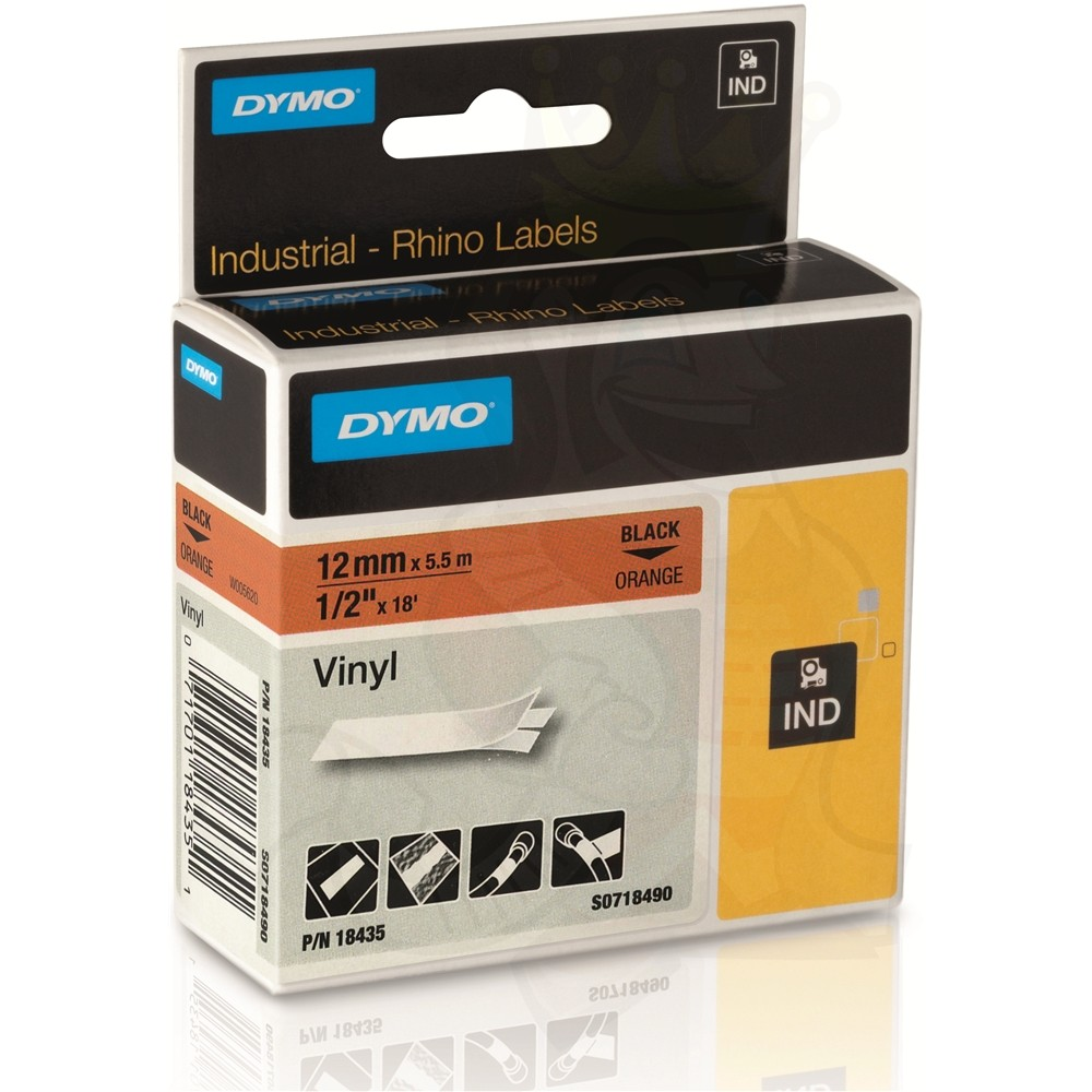 dymo rhino 12mm black on orange vinyl tape 18435 dymo label printers from the dymo shop. Black Bedroom Furniture Sets. Home Design Ideas