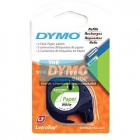 Dymo 12mm White Paper LetraTAG tape (91200)