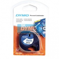 Dymo 12mm White Plastic LetraTAG tape (91201)