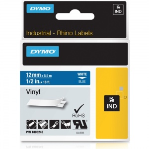 Dymo Rhino 12mm White on Blue Vinyl Tape (1805243)