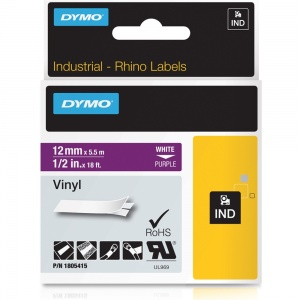 Dymo Rhino 12mm White on Purple Vinyl Tape (1805415)