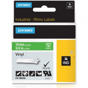 Dymo Rhino 19mm White on Green Vinyl Tape (1805420)