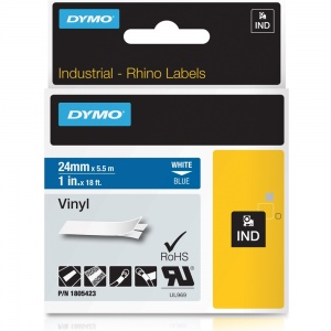Dymo Rhino 24mm White on Blue Vinyl Tape (1805423)