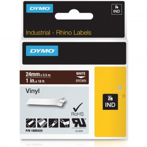 Dymo Rhino 24mm White on Brown Vinyl Tape (1805424)