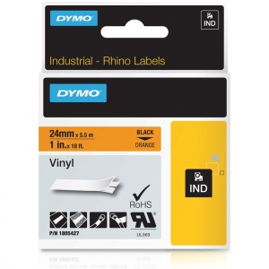 Dymo Rhino 24mm Black on Orange Vinyl Tape (1805427) - DISCONTINUED