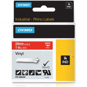 Dymo Rhino 24mm White on Red Vinyl Tape (1805429)