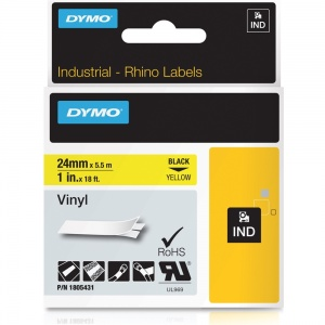 Dymo Rhino 24mm Black on Yellow Vinyl Tape (1805431)
