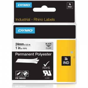 Dymo Rhino 24mm Black on Clear Polyester Tape (1805433)
