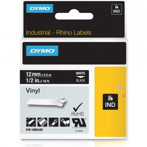 Dymo Rhino 12mm White on Black Vinyl Tape (1805435)