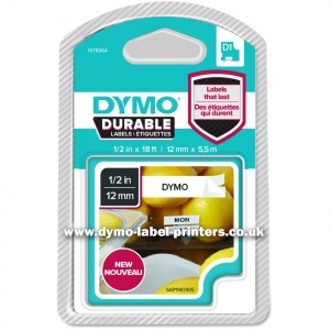 Dymo DURABLE 12mm Black On White D1 Tape - NEW!