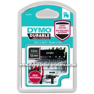 Dymo DURABLE 12mm White on Black D1 Tape - NEW!