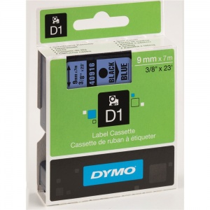 Dymo 9mm Black On Blue D1 Tape (40916)