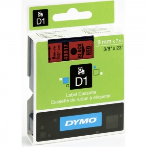 Dymo 9mm Black On Red D1 Tape (40917)