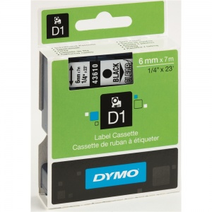 Dymo 6mm Black On Clear D1 Tape (43610)
