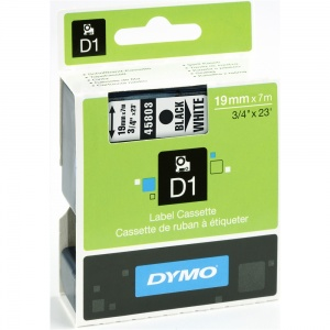 Dymo 19mm Black On White D1 Tape (45803)