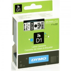 Dymo 24mm Black On White D1 Tape (53713)