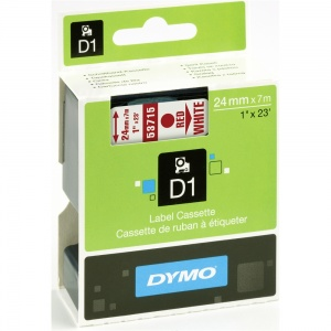 Dymo 24mm Red On White D1 Tape (53715) - Discontinued
