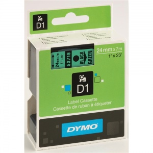 Dymo 24mm Black On Green D1 Tape (53719) - DISCONTINUED