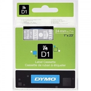 Dymo 24mm White On Clear D1 Tape (53720) - DISCONTINUED