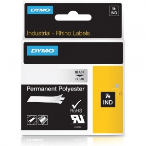 Dymo Rhino 19mm Black on Clear Polyester Tape (622290)