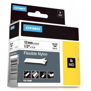 Dymo Rhino 12mm Black on White Flexible Nylon Tape (18488 / 18758)