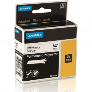 Dymo Rhino 19mm Black on White Polyester Tape (18484 / 18765)