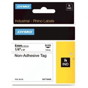 Dymo Rhino 6mm Yellow Non-Adhesive Tag (18115) - DISCONTINUED
