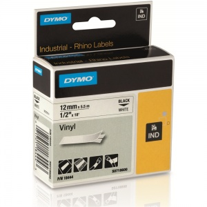 Dymo Rhino 12mm Black on White Vinyl Tape (18444)