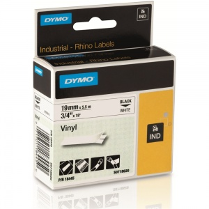 Dymo Rhino 19mm Black on White Vinyl Tape (18445)