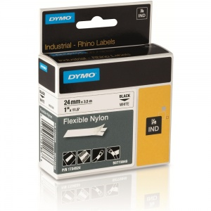 Dymo Rhino 24mm Black on White Flexible Nylon Tape (S0773840)