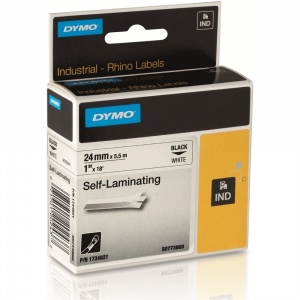 Dymo Rhino 24mm Black on White Self Laminating Tape (S0773860)