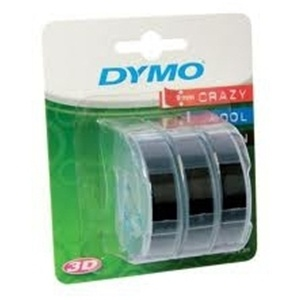 Dymo 9mm White On Black Embossing Pack of 3 (S0847730)