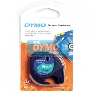 Dymo 12mm Green Plastic LetraTAG tape (91204)