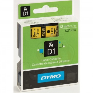Dymo 12mm Black On Yellow D1 Tape (45018)