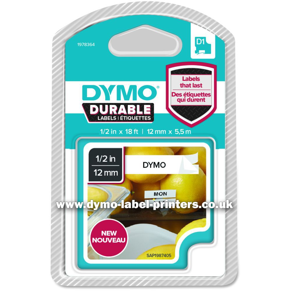 Dymo durable 12mm black on white d1 tape new dymo for Dymo label stickers