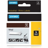 Dymo Rhino 12mm White on Brown Vinyl Tape (1805412)