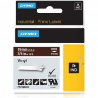 Dymo Rhino 19mm White on Brown Vinyl Tape (1805418)