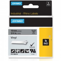 Dymo Rhino 19mm Black on Grey Vinyl Tape (1805419)