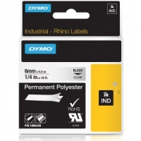 Dymo Rhino 6mm Black on Clear Polyester Tape (1805440)