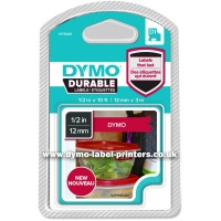 Dymo DURABLE 12mm White on Red D1 Tape - NEW!