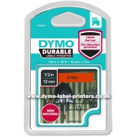Dymo DURABLE 12mm Black On Orange D1 Tape - NEW!