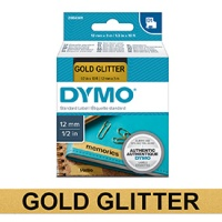 Dymo 12mm Black on Gold Glitter D1 Tape