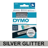 Dymo 12mm Black on Silver Glitter D1 Tape