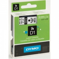 Dymo 6mm Black On White D1 Tape (43613)