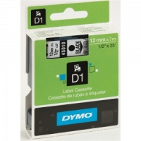 Dymo 12mm Black On Clear D1 Tape (45010)
