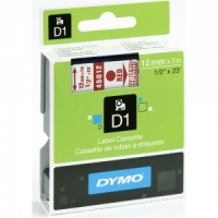 Dymo 12mm Red On Clear D1 Tape (45012)