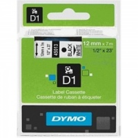 Dymo 12mm Black On White D1 Tape (45013)