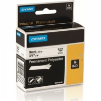 Dymo Rhino 9mm Black on White Polyester Tape (18482 / 18766)